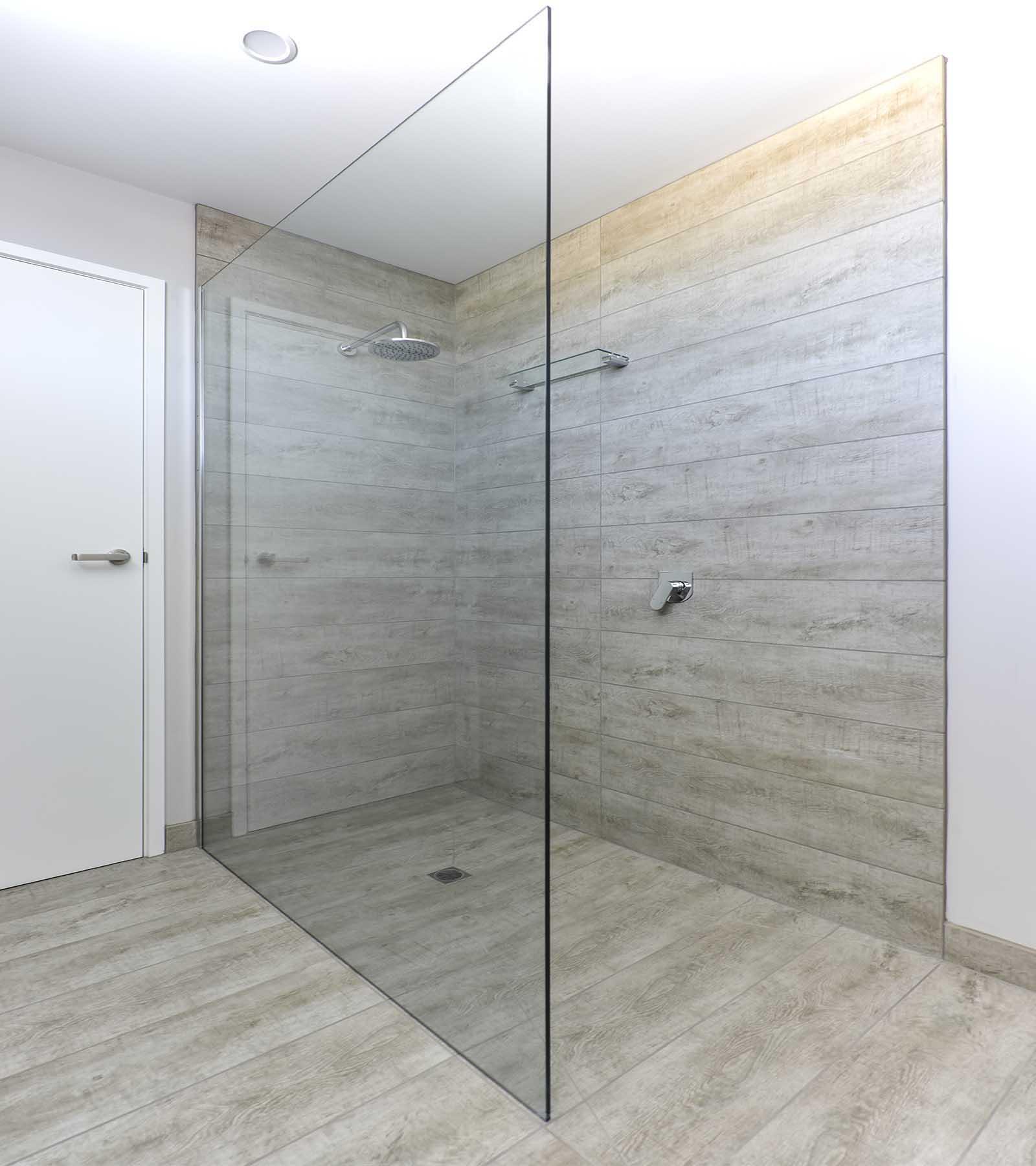 Frameless shower screen glass panels geelong splashbacks for Glass wall panels bathroom